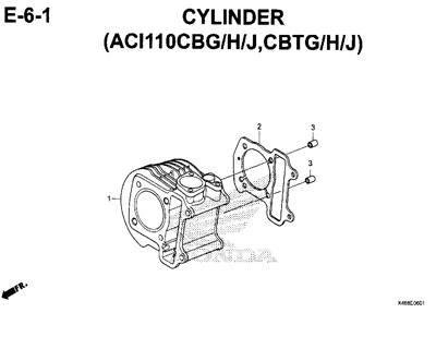 E6-1 – Cylinder (ACI110CBG/H/J,CBTG/H/J) – Katalog Honda New Vario 110