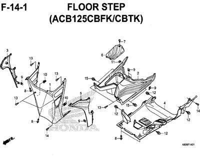F14-1 – Floor Step (ACB125CBFK/CBTK) – Katalog Honda New Vario 125 K60R