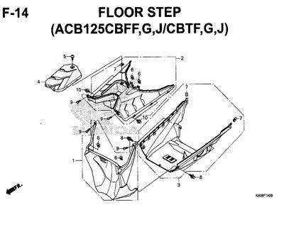 F14 – Floor Step (ACB125CBFF,G,J/CBTF,G,J) – Katalog Honda New Vario 125 K60R