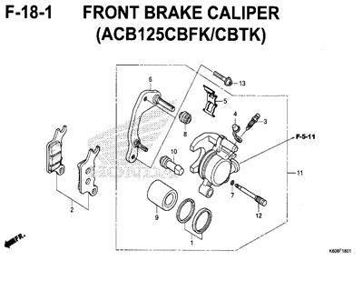 F18-1 – Front Brake Caliper (ACB125CBFK/CBTK) – Katalog Honda New Vario 125 K60R