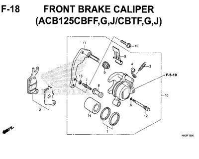 F18 – Front Brake Caliper (ACB125CBFF,G,J/CBTF,G,J) – Katalog Honda New Vario 125 K60R