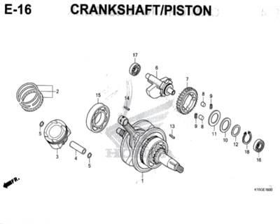 E16 – Crankshaft/Piston – Katalog Honda New CB150R StreetFire K15M