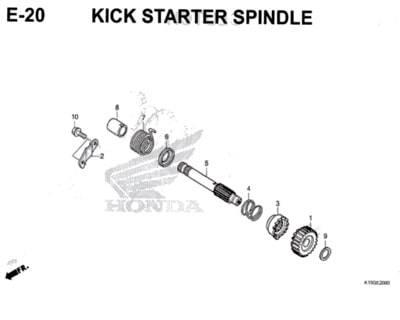 E20 – Kick Starter Spindle – Katalog Honda New CB150R StreetFire K15M