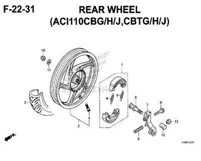 F22-31 – Rear Wheel (ACI110CBG/H/J,CBTG/H/J) – Katalog Honda New Vario 110