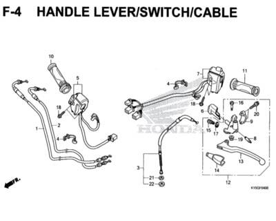 F4 – Handle Lever/Switch/Cable – Katalog Honda New CB150R StreetFire K15M
