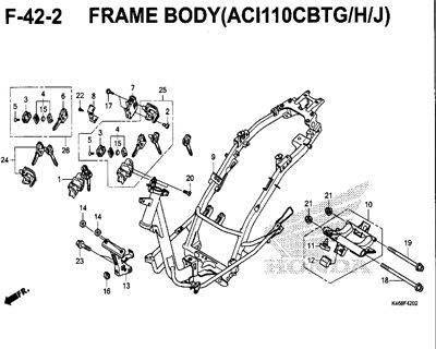 F42-2 – Frame Body (ACI110CBTG/H/J) – Katalog Honda New Vario 110
