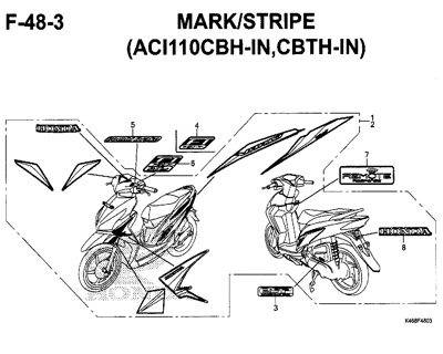 F-48-3 – Mark/Stripe (ACI110CBH-IN,CBTH-IN) – Katalog Honda New Vario 110