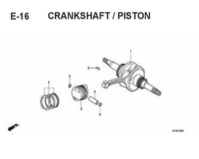 E16 – Crankshaft/Piston – Katalog Honda BeAT Karbu KVY