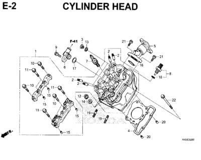 E2 – Cylinder Head – Katalog Honda New CBR 150R K45N