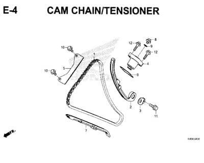 E4 – Cam Chain/Tensioner – Katalog Honda New CBR 150R K45N
