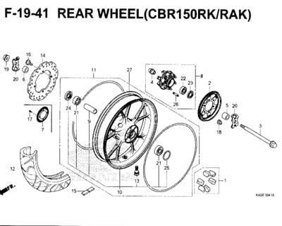 F19-41 – Rear Wheel (CBR150RK/RAK) – Katalog Honda New CBR 150R K45N