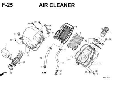 F25 – Air Cleaner – Katalog Honda New CBR 150R K45N