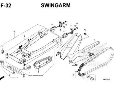 F32 – Swingarm – Katalog Honda New CBR 150R K45N