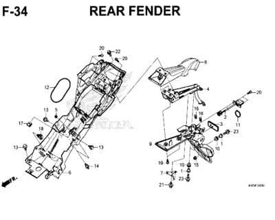 F34 – Rear Fender – Katalog Honda New CBR 150R K45N