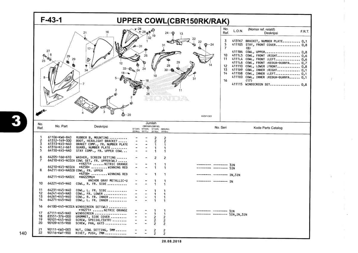 F-43-1-Upper-Cowl-(CBR150RK-RAK)-Katalog-New-CBR-150R-K45N
