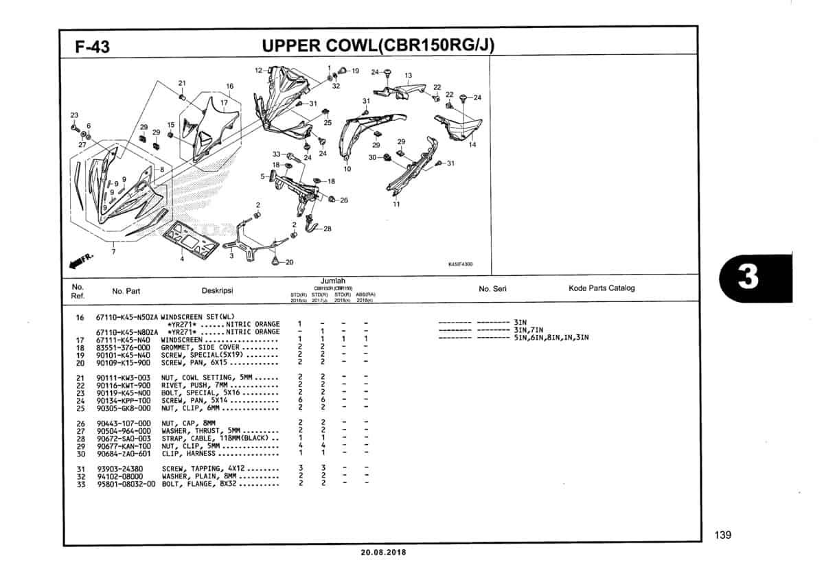 F-43-Upper-Cowl-(CBR150RG-J)-Katalog-New-CBR-150R-K45N