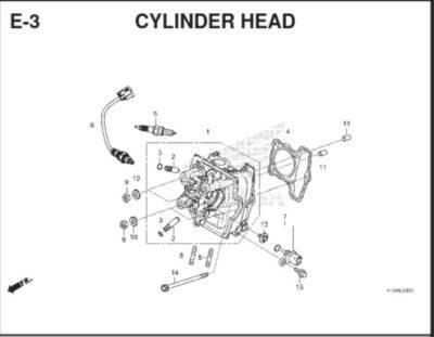 E3 – Cylinder Head – Katalog Honda BeAT K1A
