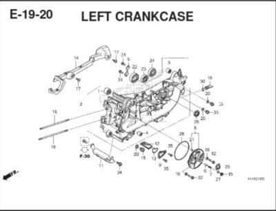 E19 -20 – Left CrankCase – Katalog Honda BeAT K1A