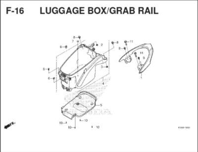 F-16 Luggage Box Grab Rail