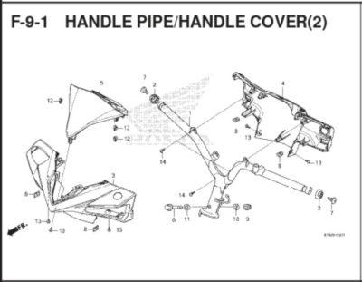 F-9-1 – Handle Pipe/ Handle Cover (2) – Katalog Honda BeAT K1A