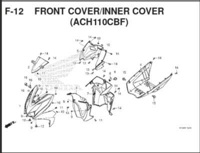 F12 – Front Cover / Inner Cover (ACH110CBF) – Katalog Honda BeAT K1A