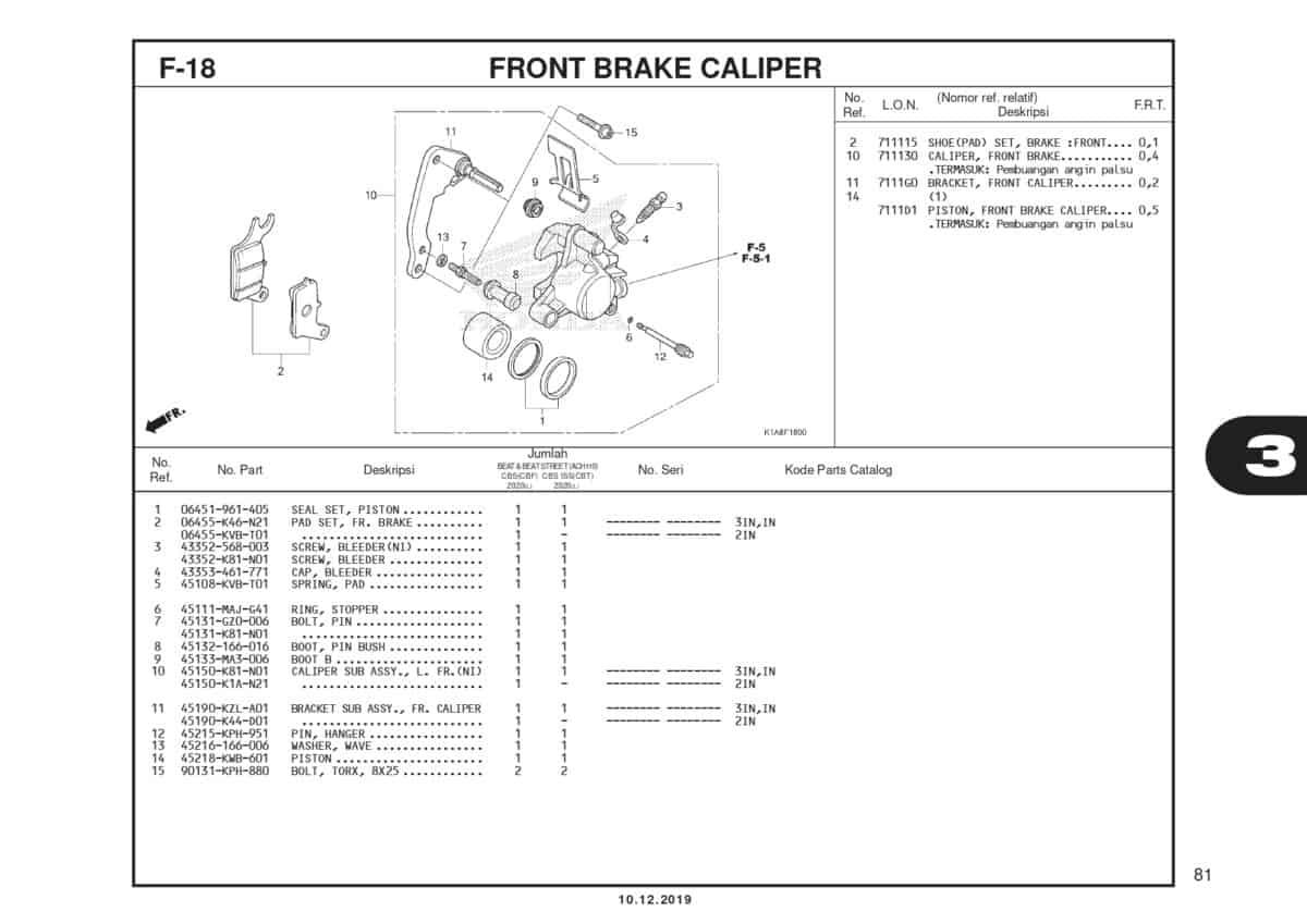 F18 Front Brake Caluper
