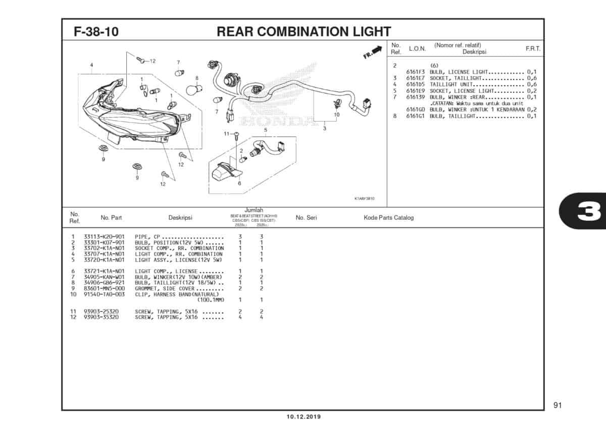 F38-10 Rear Combination Light