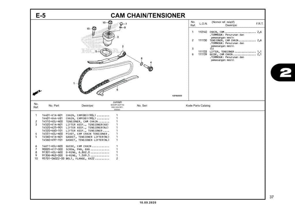 E-5 CAM CHAINTENSIONER