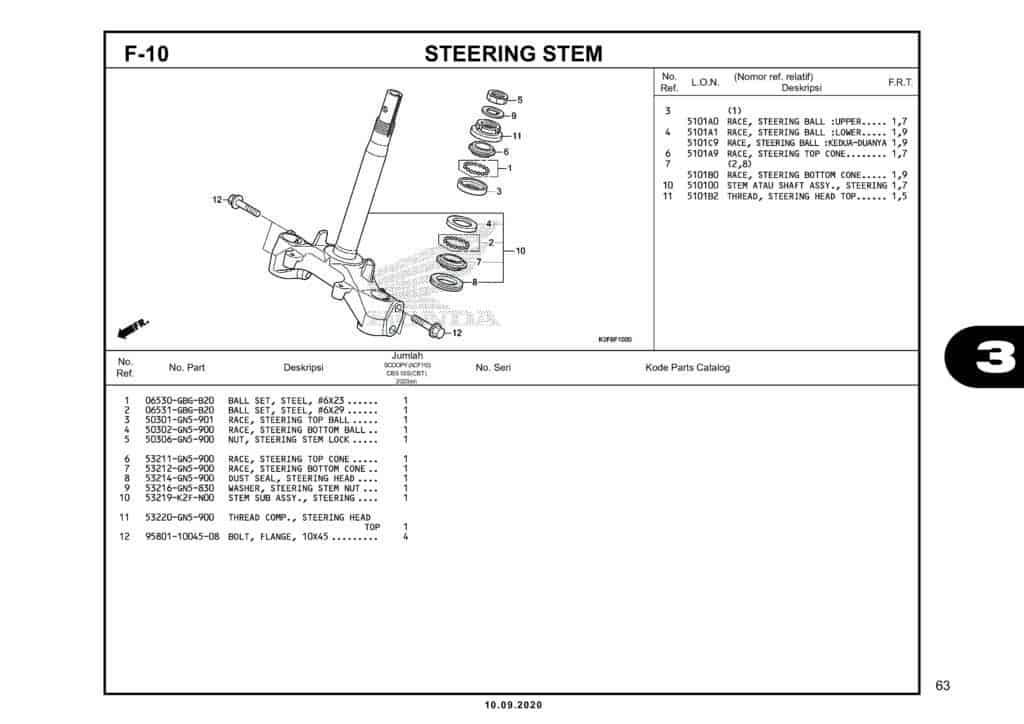 F-10 STEERING STEM