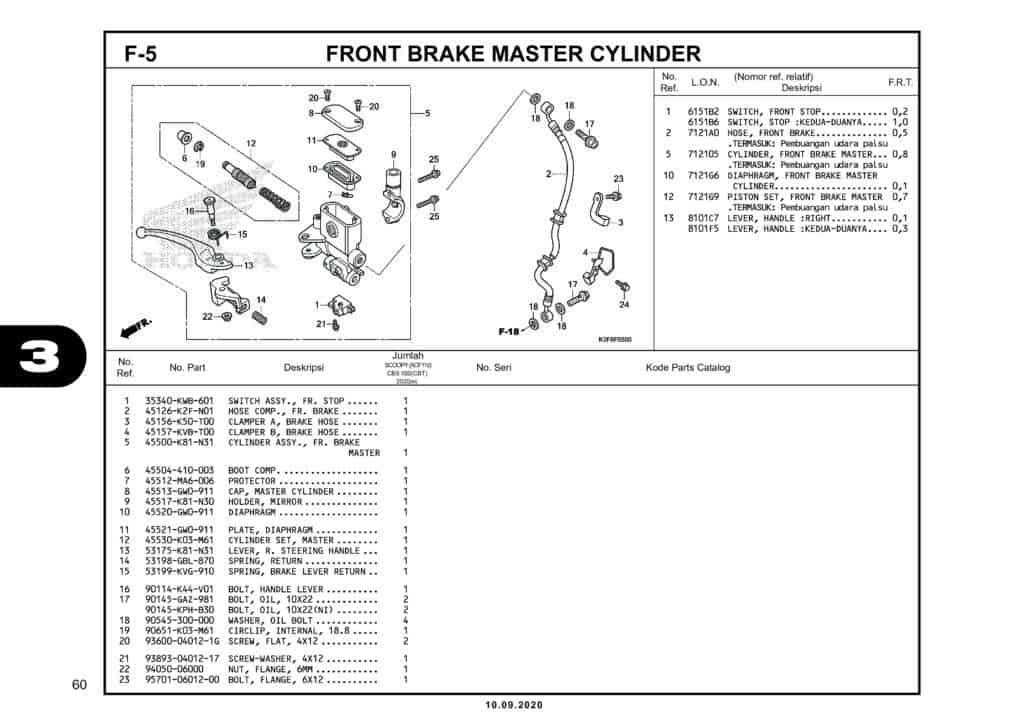F-5 FRONT BRAKE MASTER CYLINDER