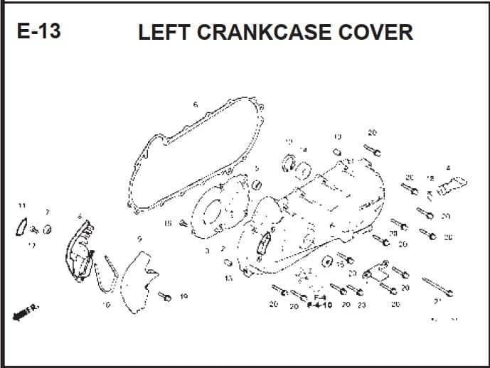 E-13 Left Crank Case Cover
