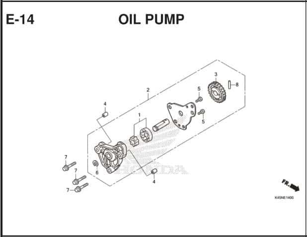 E-14 Oil Pump – Katalog Suku Cadang Honda New CBR 150R K45R