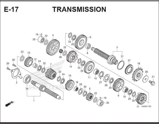 E-17 Transmission – Katalog Suku Cadang Honda CBR250 RR K64J