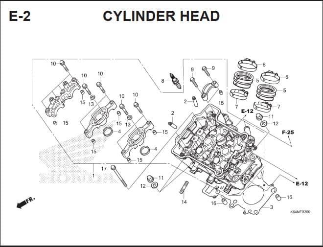 E-2 Cylinder Head – Katalog Suku Cadang Honda CBR250 RR K64J
