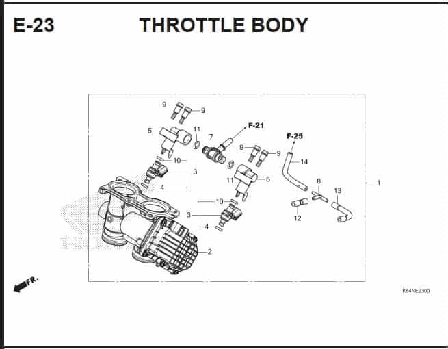 E-23 Throttle Body – Katalog Suku Cadang Honda CBR250 RR K64J