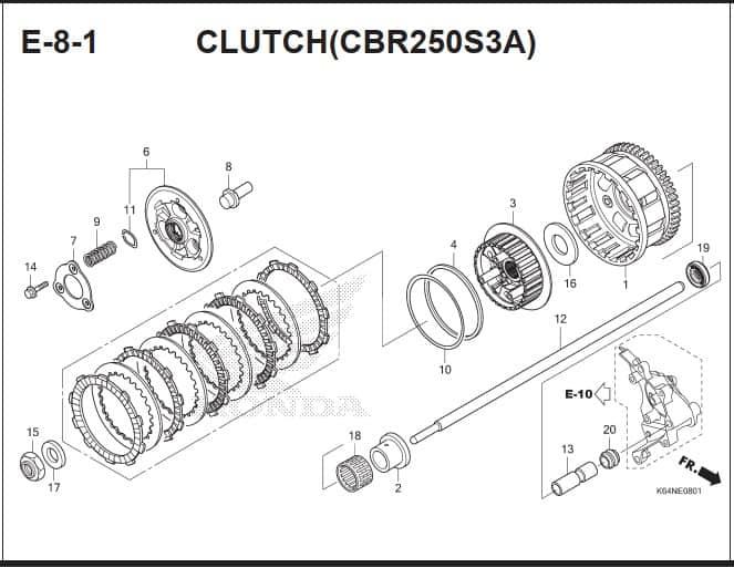 E-8-1 Clutch (CBR250S3A)