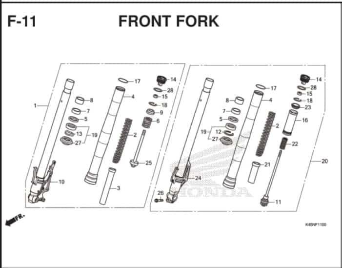 F-11 Front Fork – Katalog Suku Cadang Honda New CBR 150R K45R