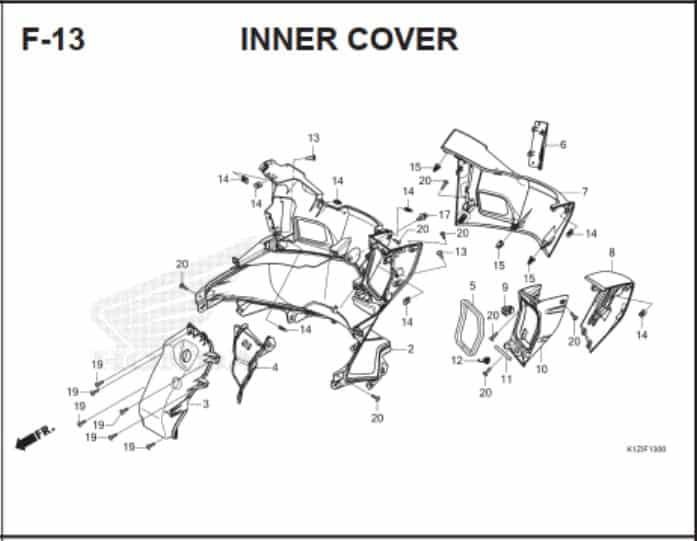 F-13 Inner Cover – Katalog Suku Cadang Honda PCX 160