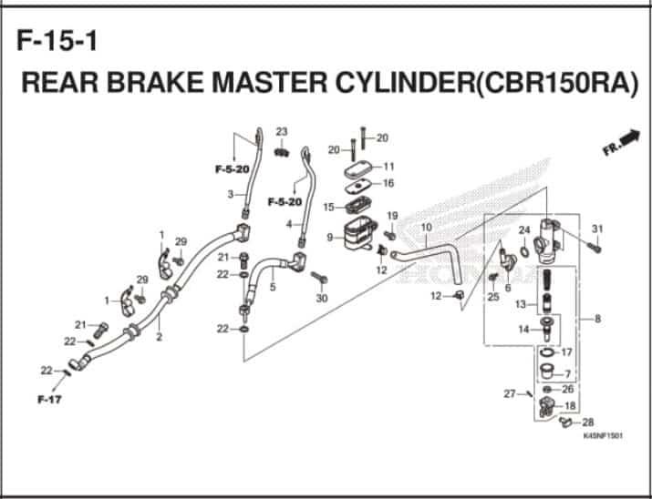 F-15-1 Rear Brake Master Cylinder (CBR150RA)