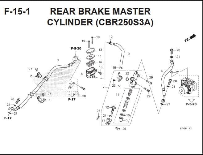 F-15-1 Rear Brake Master Cylinder (CBR250S3A)