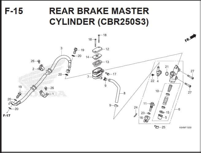 F-15 Rear Brake Master Cylinder (CBR250S3)
