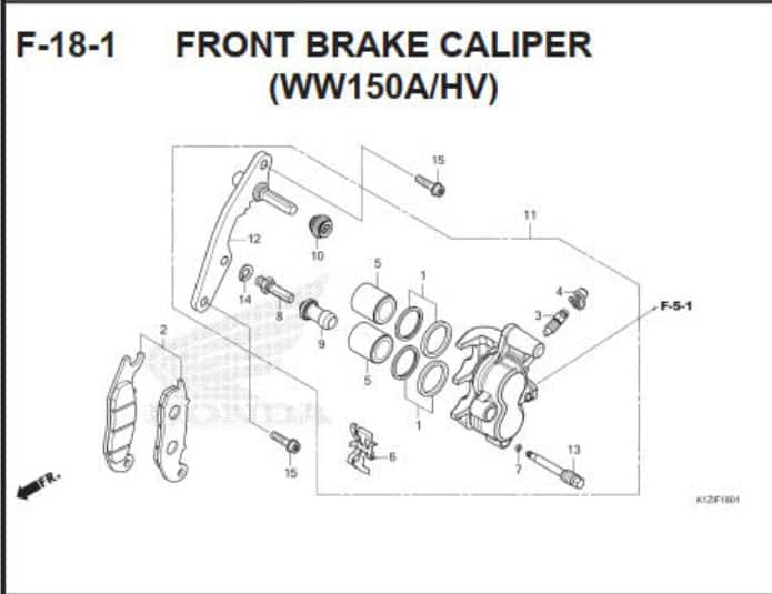 F-18-1 Front Brake Caliper (WW150AHV)