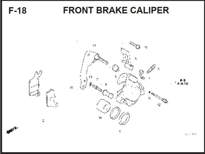F-18 Front Brake Caliper – Katalog Suku Cadang Honda BeAT FI K25A
