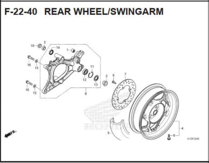 F-22-40 Rear WheelSwingarm