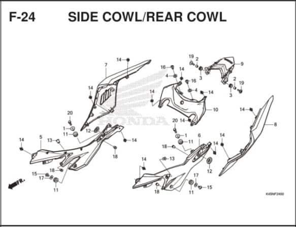 F-24 Side Cowl/Rear Cowl – Katalog Suku Cadang Honda New CBR 150R K45R