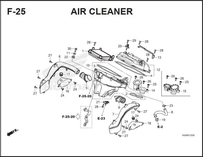F-25 Air Cleaner -Katalog Suku Cadang Honda CBR250RR K64J
