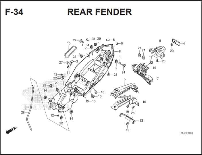 F-34 Rear Fender – Katalog Suku Cadang Honda CBR250RR K64J