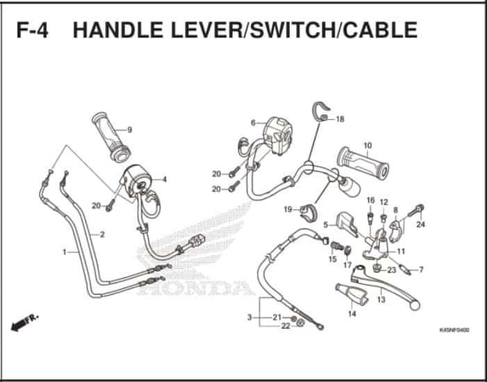 F-4 Handle Lever/Switch/Cable – Katalog Suku Cadang Honda New CBR 150R K45R