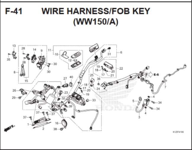 F-41 Wire Harness FOB Key (WW150A)