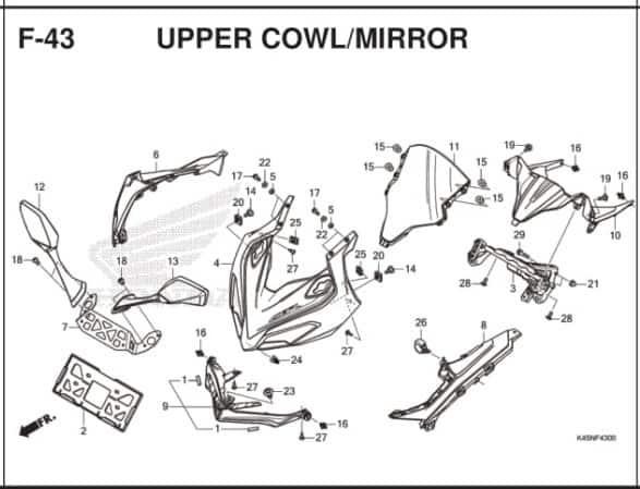 F-43 Upper Cowl Mirror